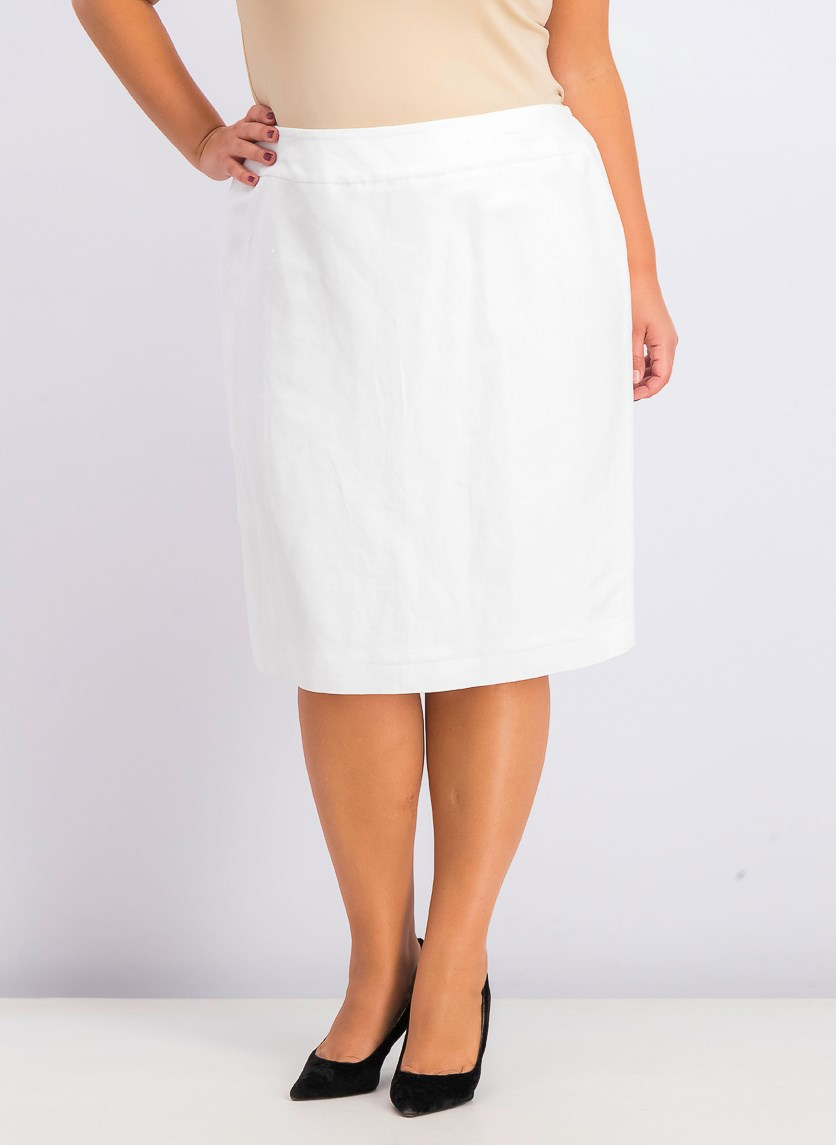 Women's Plus Size Pull On Skirt, Lily White