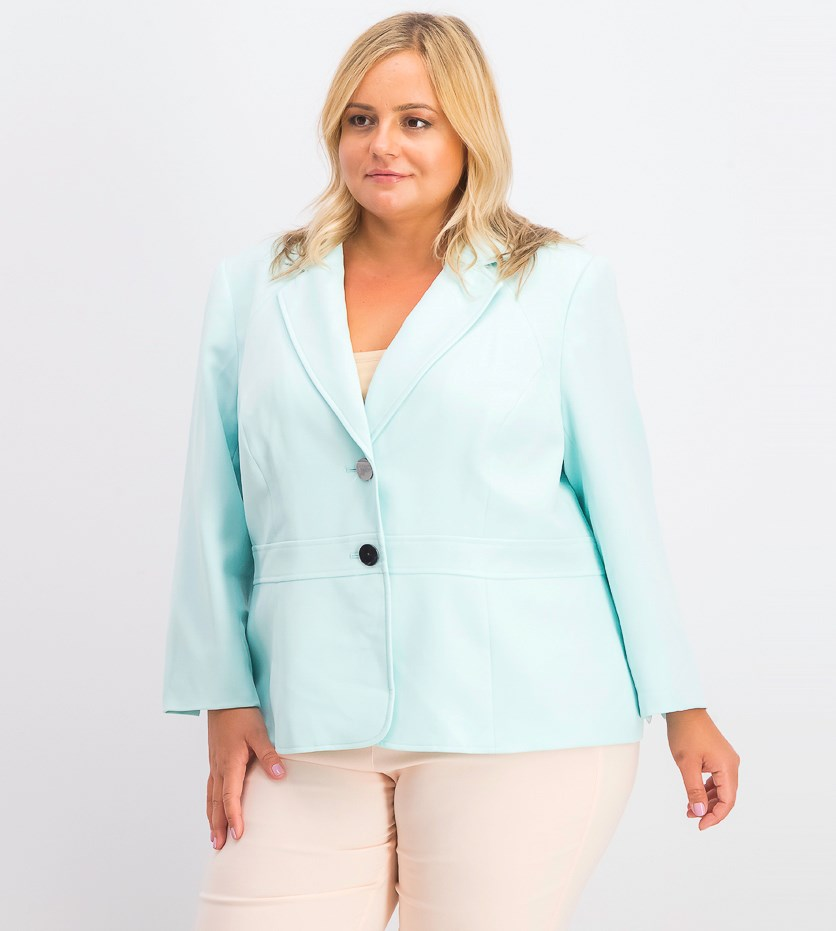 Women's Plus Size Stretch Two-Button Blazer, Turquoise