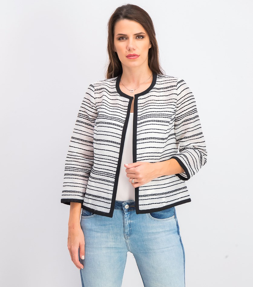 Women's Petites Stripe Sheer Blazer, White/Black