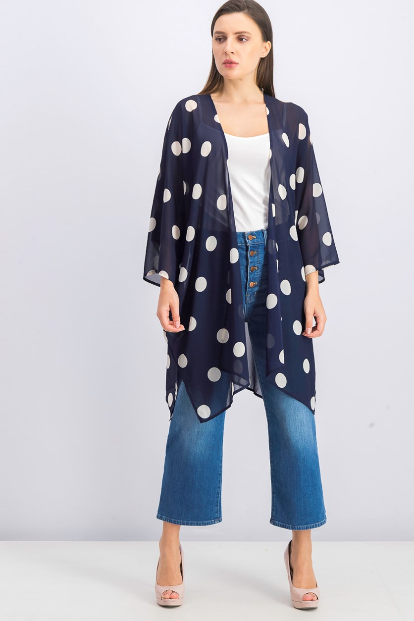 Women's Polka Dots Cardigan, Navy Blue