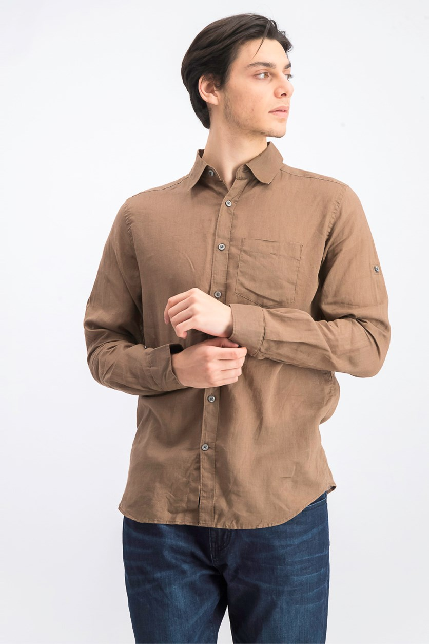 Men's Linen Casual Shirt, Chocolate Brown