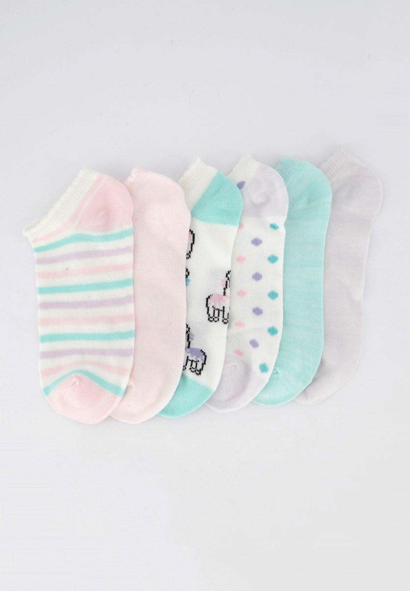 Kids Girls 6pck Super Soft Socks, White/Pink/Green