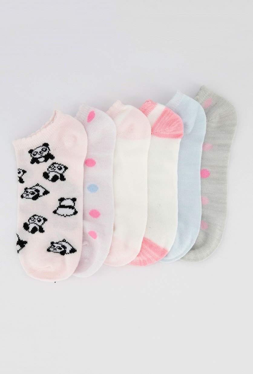 Girls 6 Pairs Of Socks, Pink/Blue/White