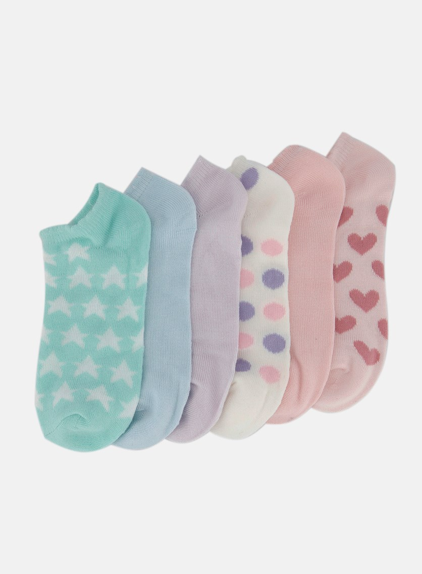 Girls 6 Pairs No Show Socks, Pink/Blue/Green/Purple