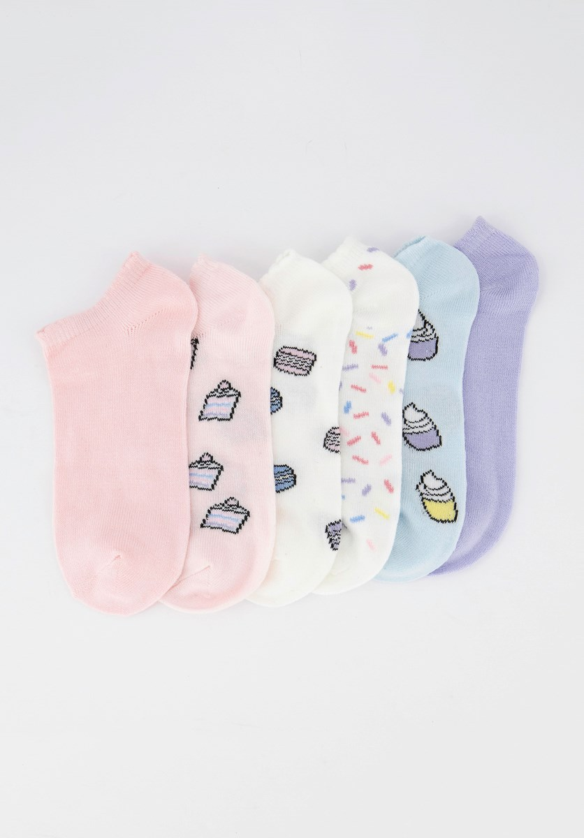 Kids Girls 6pck Super Soft Socks, Pink/Purple/White/Blue