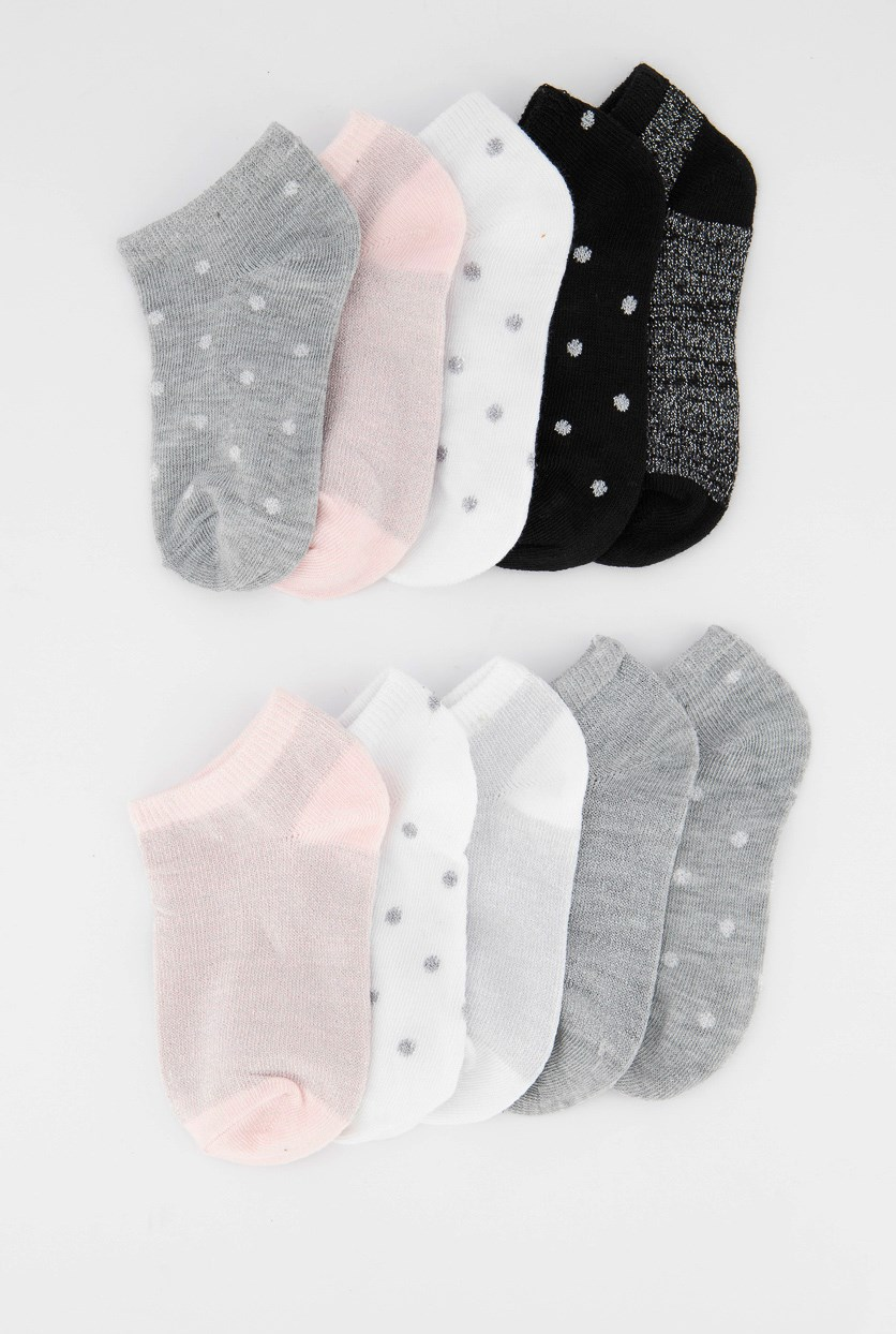 Kids Girls 10pck Of Socks, Black/Pink