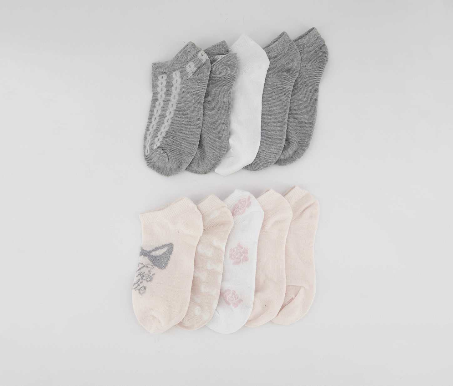 Kids Girls 10 Packs of Socks, Pink/Grey