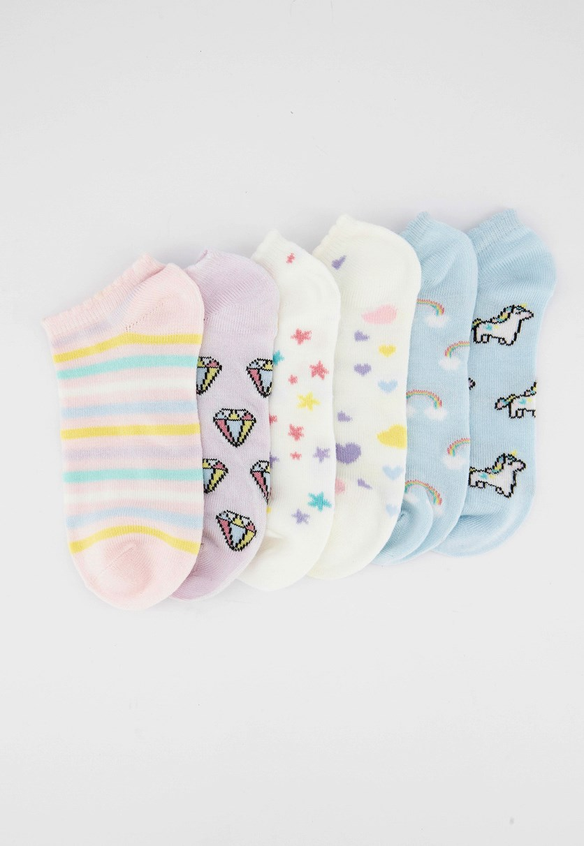 Kids Girls 6pck of Acrylic Unicorn Socks, Blue/Pink/White