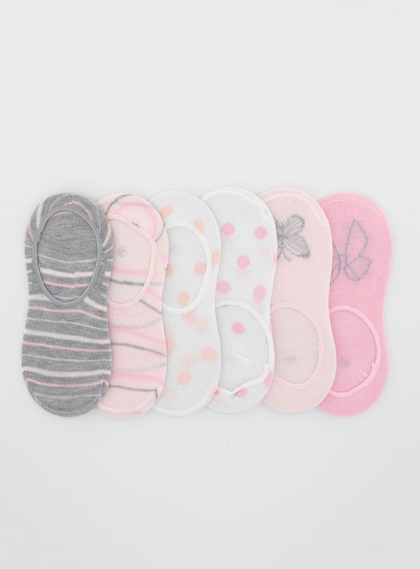 Kids Girls 6pck Liners Socks, Pink/White/Grey