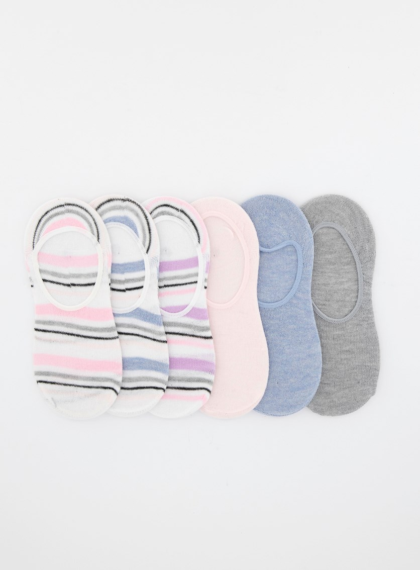 Girls 6 Pairs Of Liners Foot Socks, Grey/Pink/Purple/Blue