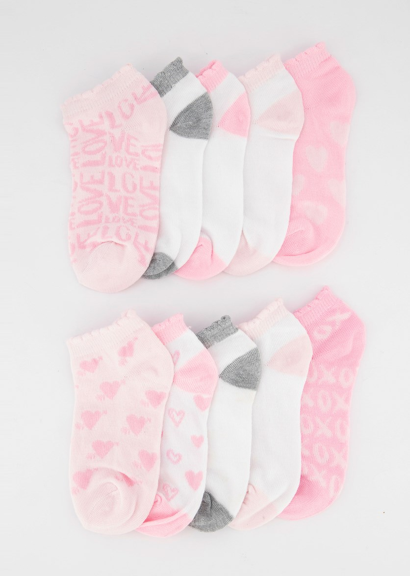 Girls 10 Pairs No Shoe Socks, Pink/Grey
