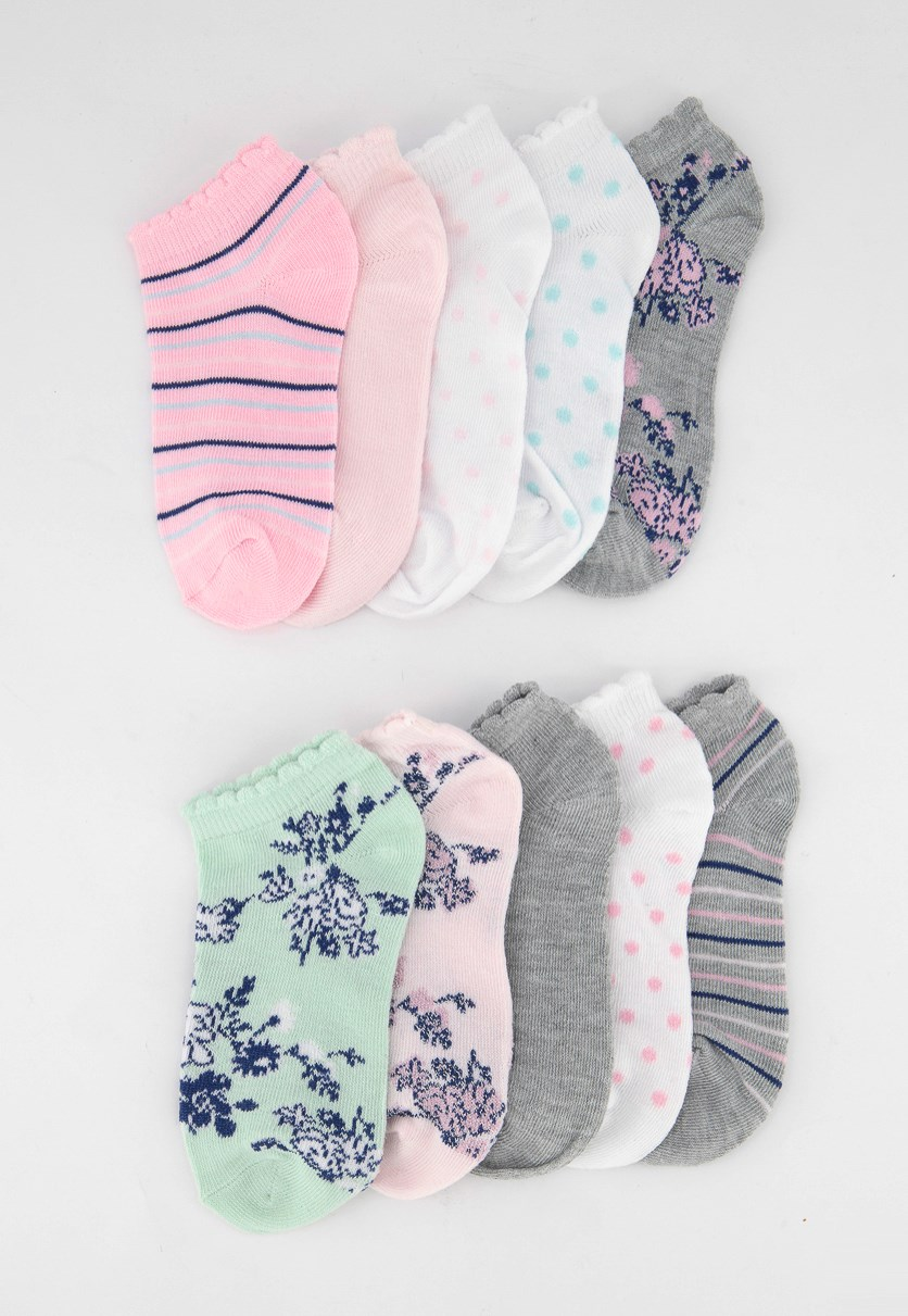 Girls 10 Pairs No Show Socks, Pink/Grey/White/Green