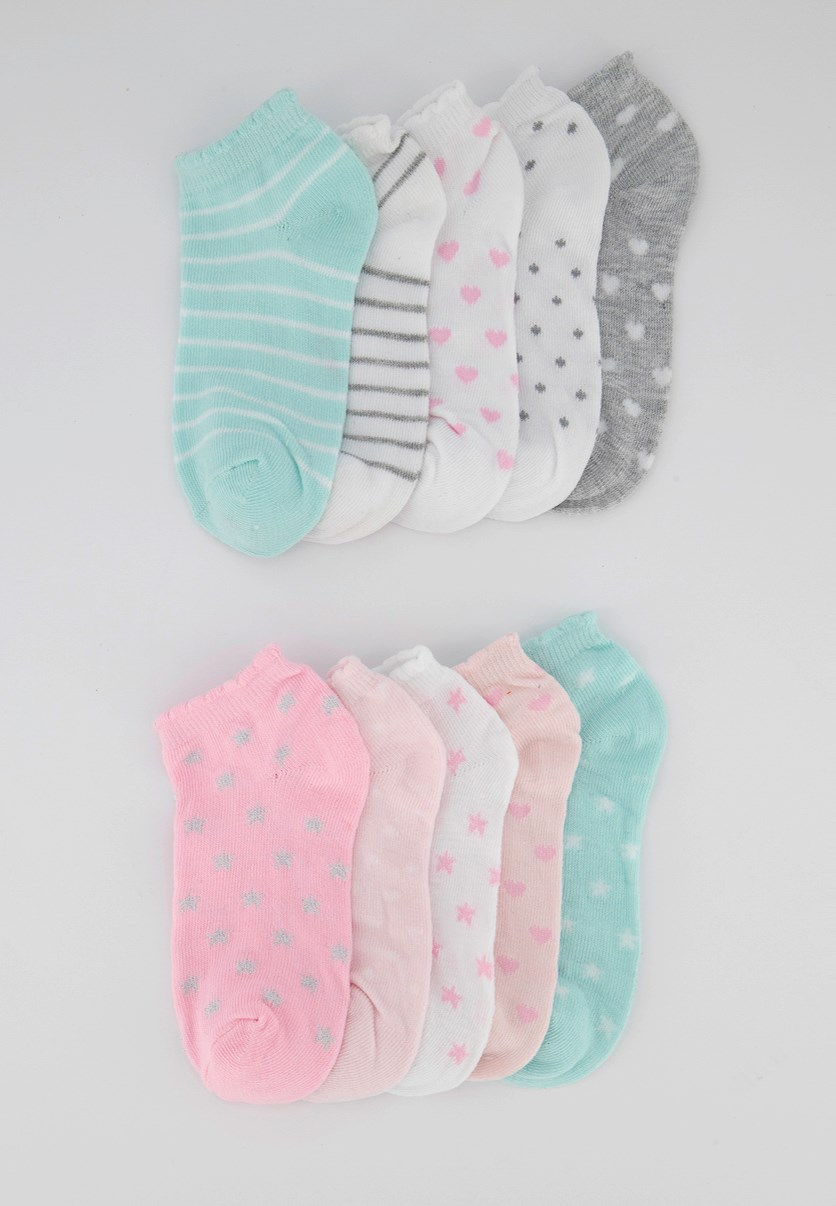Girls 10 Pairs Of No Show Socks, Pink/Grey/Green