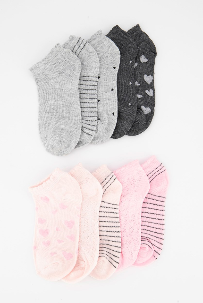 Girls' 10 Pairs Of Socks, Pink/Grey/Silver