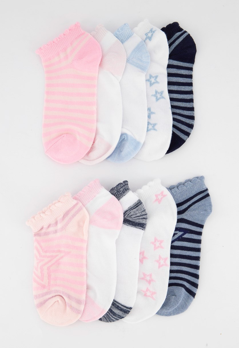 Girls 10 Pairs No Show Sock, Pink/White/Blue