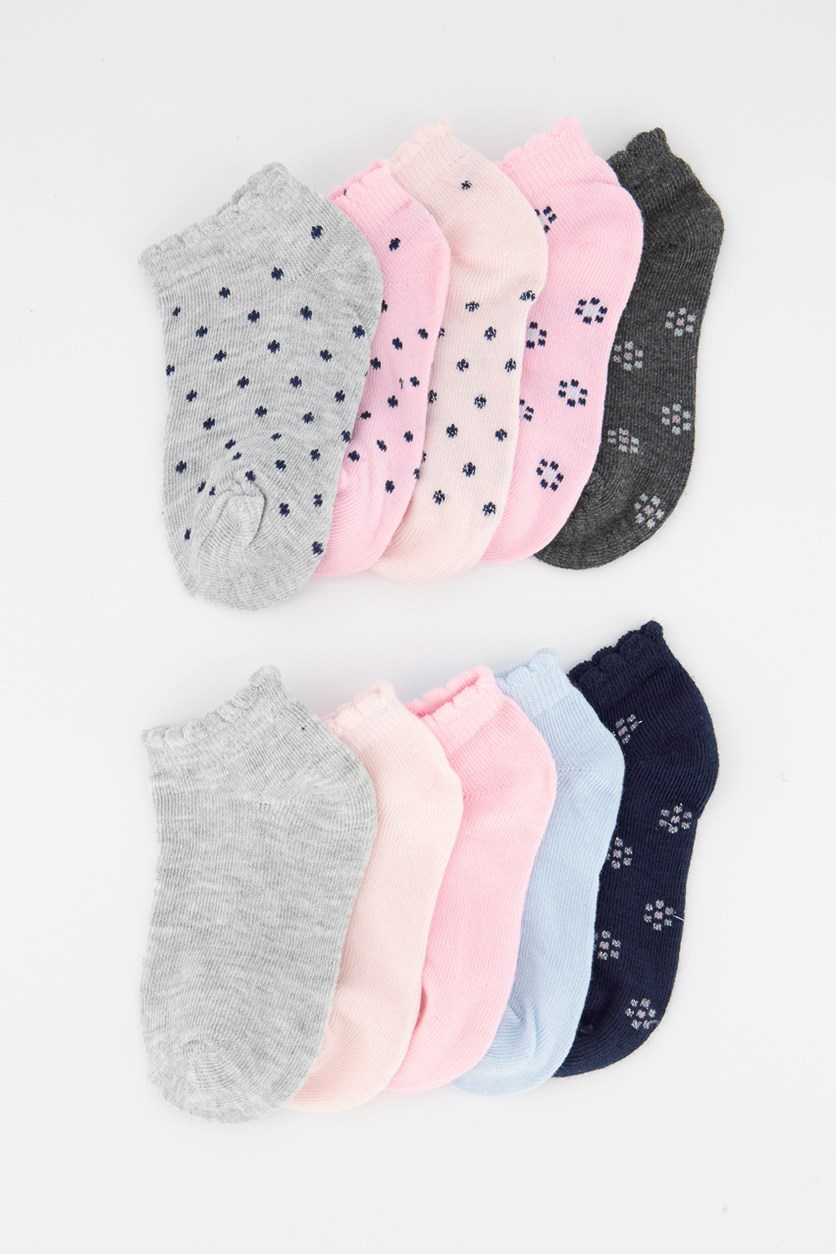 Girls 10 Pairs Of No Show Socks, Navy Blue/Pink/Grey