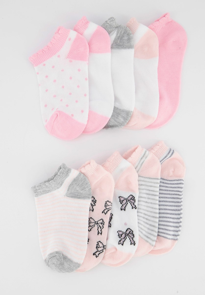 Girls 10 Pairs Of No Show Socks, Pink/White