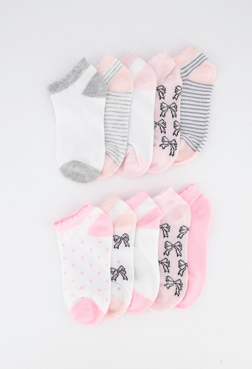 Girls 10 Pairs No Show Socks, Pink/Grey/Silver/White