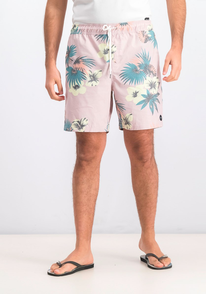 Mens Eclectic Print Swim Trunks, Pink