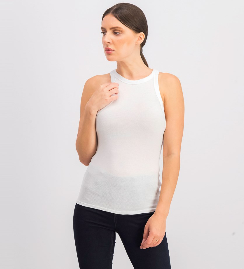 Ribbed Racerback Tank Top, White