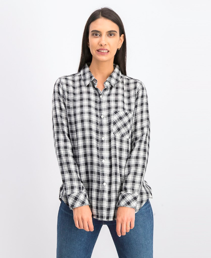 Women's Mckenna Plaid Shirt, White/Black