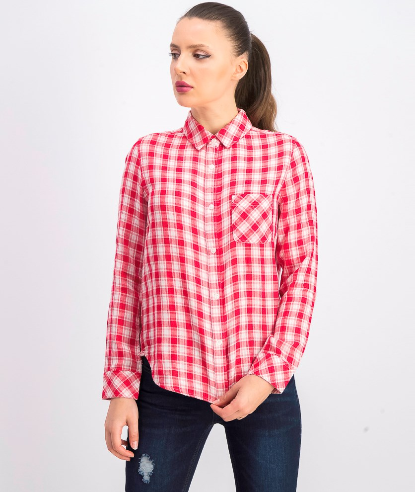 Women's Mckenna Plaid Shirt, White/Red