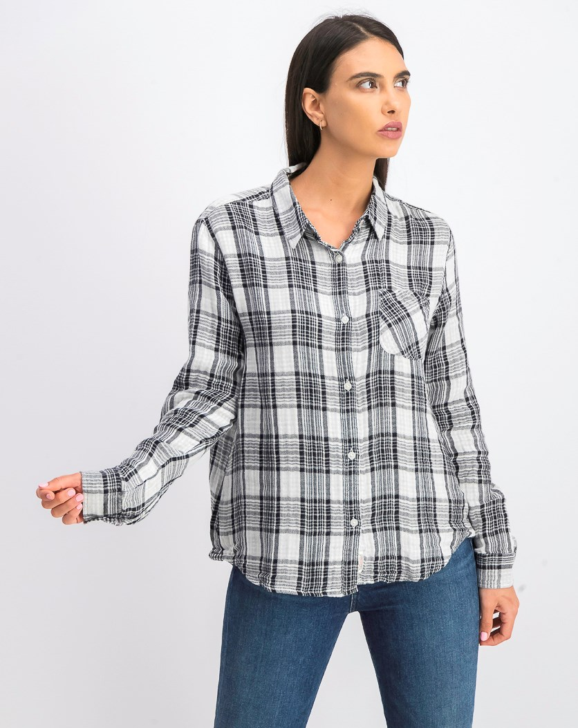 Women's Bellamy Plaid Shirt, Black/White