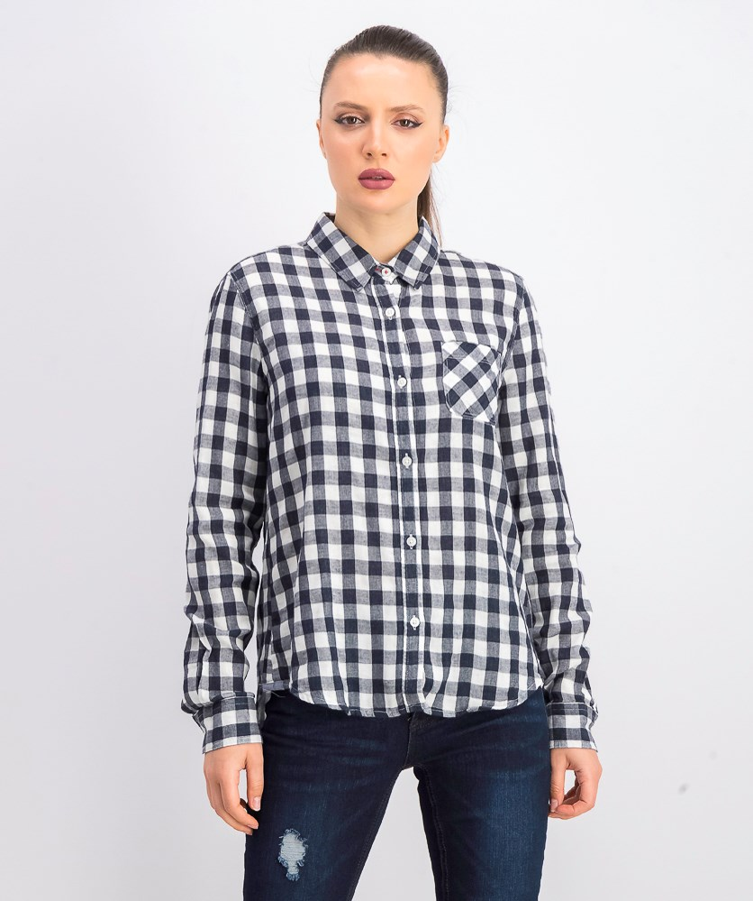 Women's Roseland Plaid Shirt, Black/White