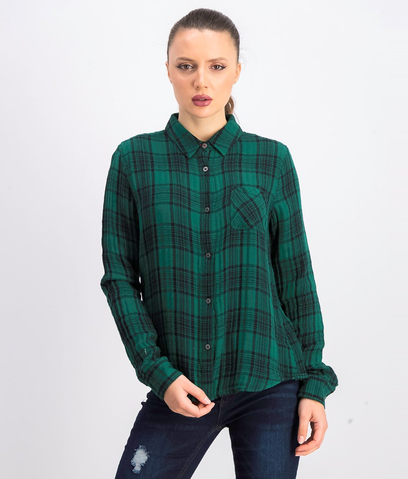 Women's Bellamy Plaid Shirt, Green/Black
