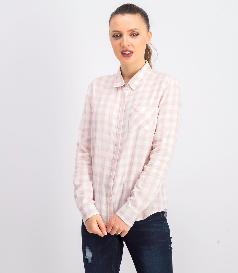 Women's Roseland Plaid Shirt, Pink/White