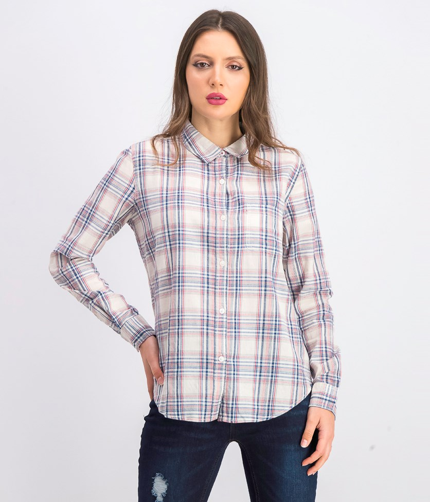 Women's Laurie Plaid Shirt, Navy/Red/White