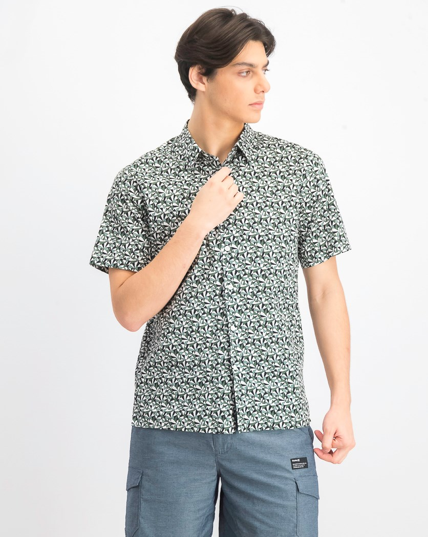 Men's Irving Angle-Printed Shirt, Green Combo