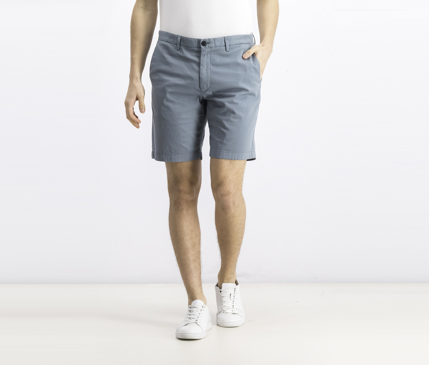 Men's Plain Chino Shorts, Light Teal