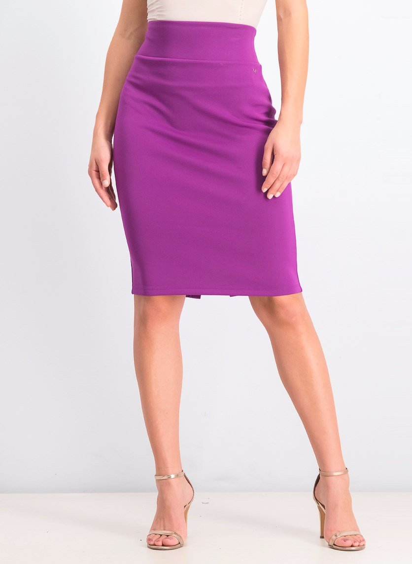 Women's Pencil Split Hem Scuba Skirt, Purple