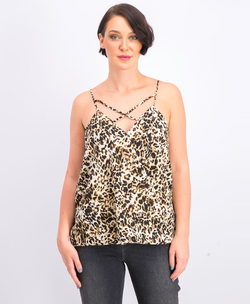 Women's Criss Cross Top, Neu Animal Print