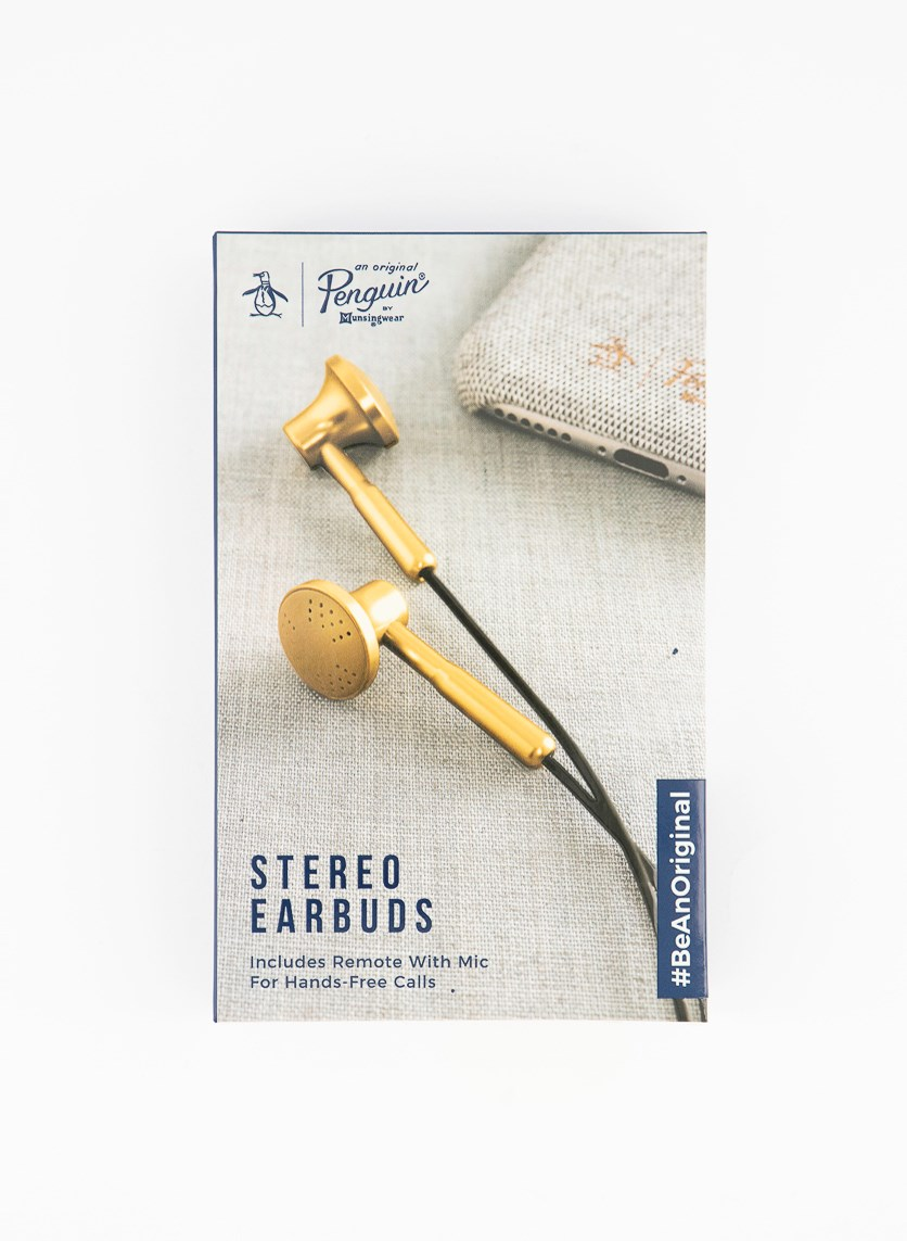 Stereo Earbuds, Gold/Black