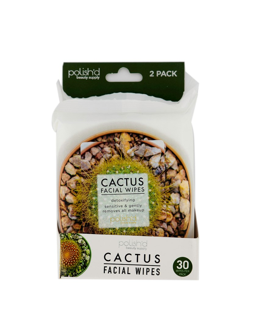 Cactus Pack Of 2 Facial Wipes 30's, White