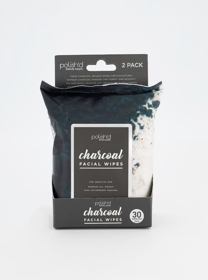 2-Pack Charcoal Facial Wipes, Black Combo