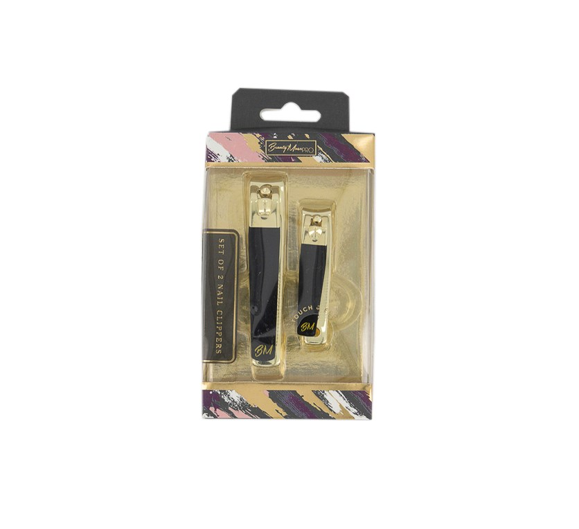 Set Of 2 Nail Clippers, Black/Gold