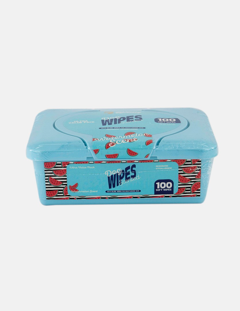 Dog 100 Soft Wipes Watermelon Scented, Turquoise