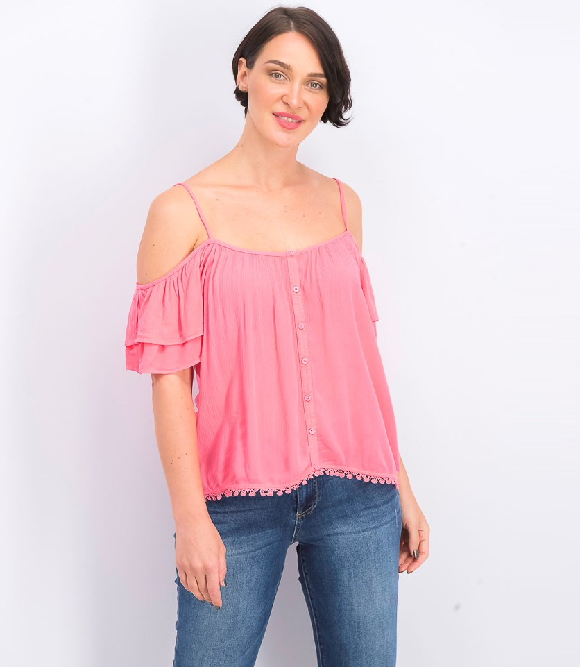 Womens Cold Shoulder Tops, Pink