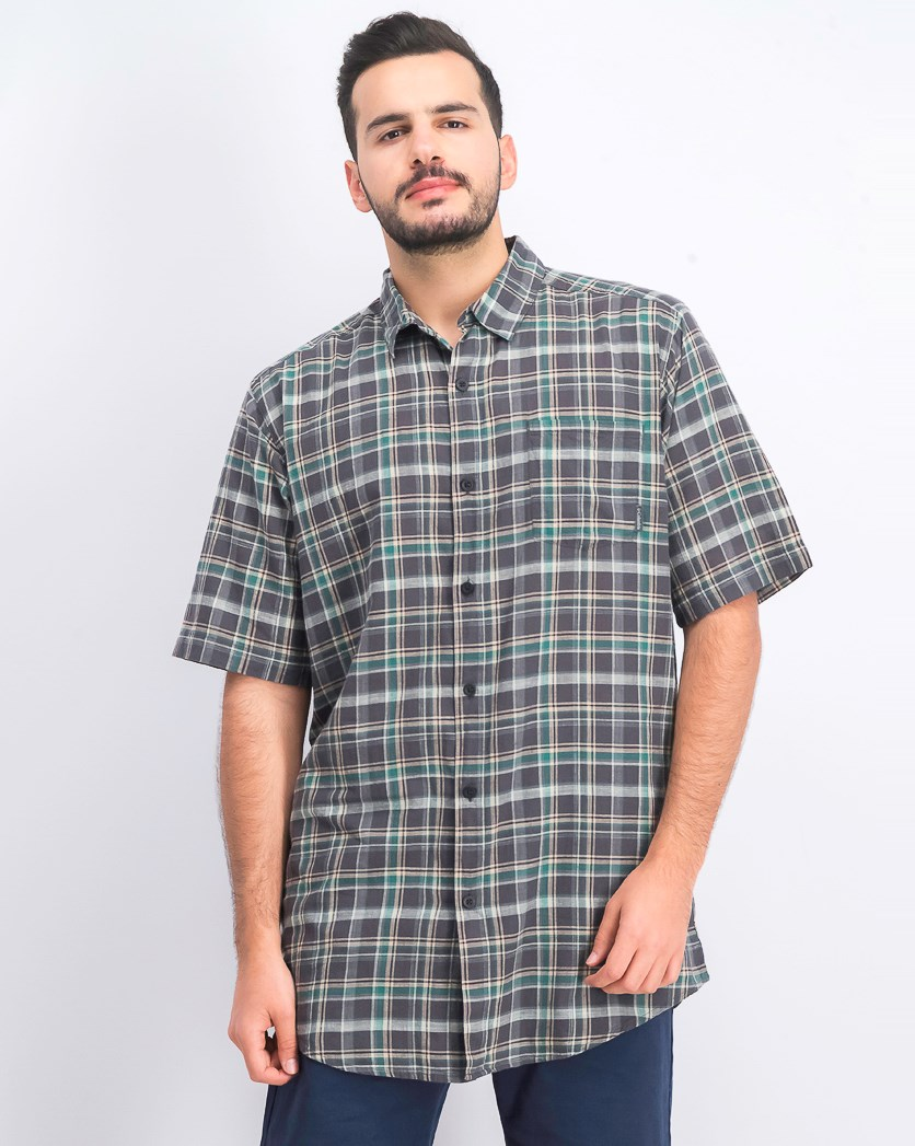 Men's Checkered Casual Shirt, Olive