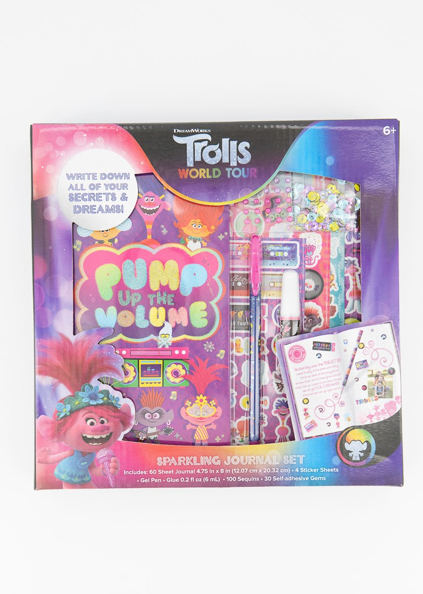 Trolls World Tour Sparkling Journal Set, Pink/Violet Combo