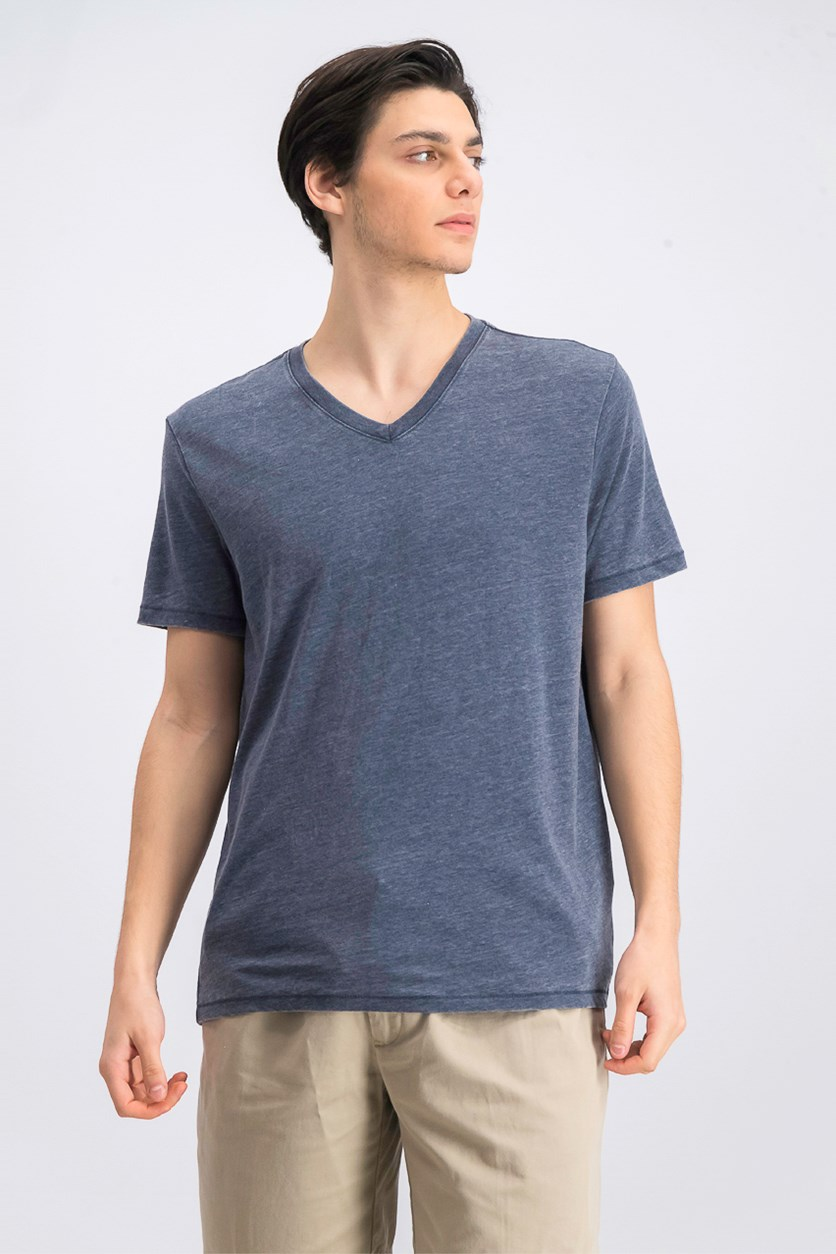 Men's Burnout V-Neck T-Shirt, Navy