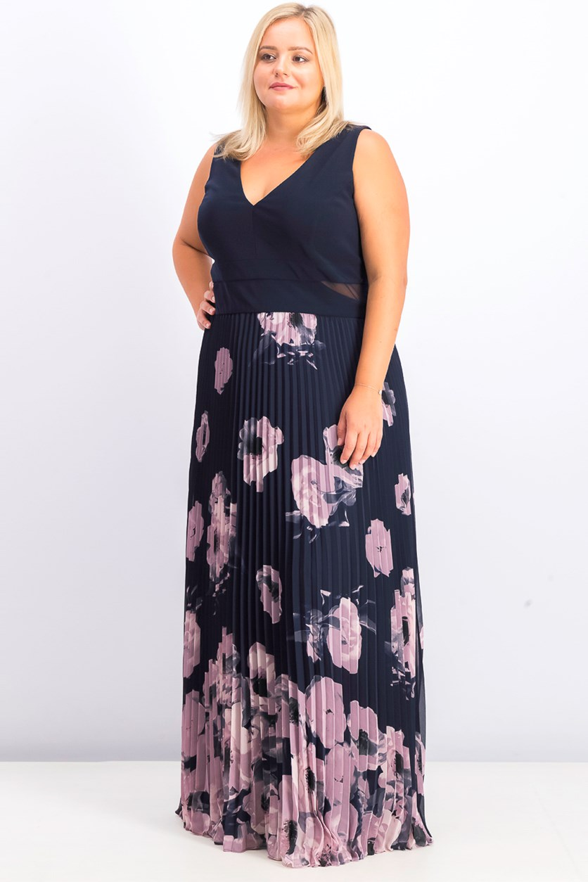 Women's Plus Size Floral-Print Pleated Gown, Navy Combo