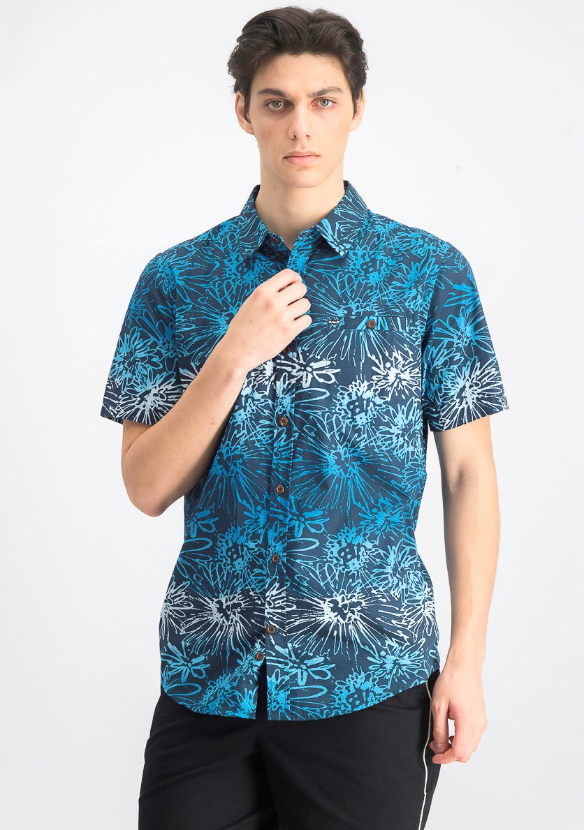 Mens Printed Modern Button Down Shirt, Armory Navy