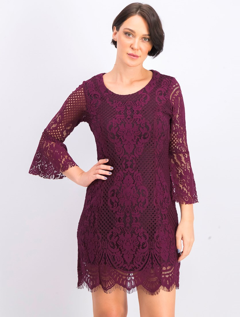 Women's Lace A-Line Dress with Open Back, Plum
