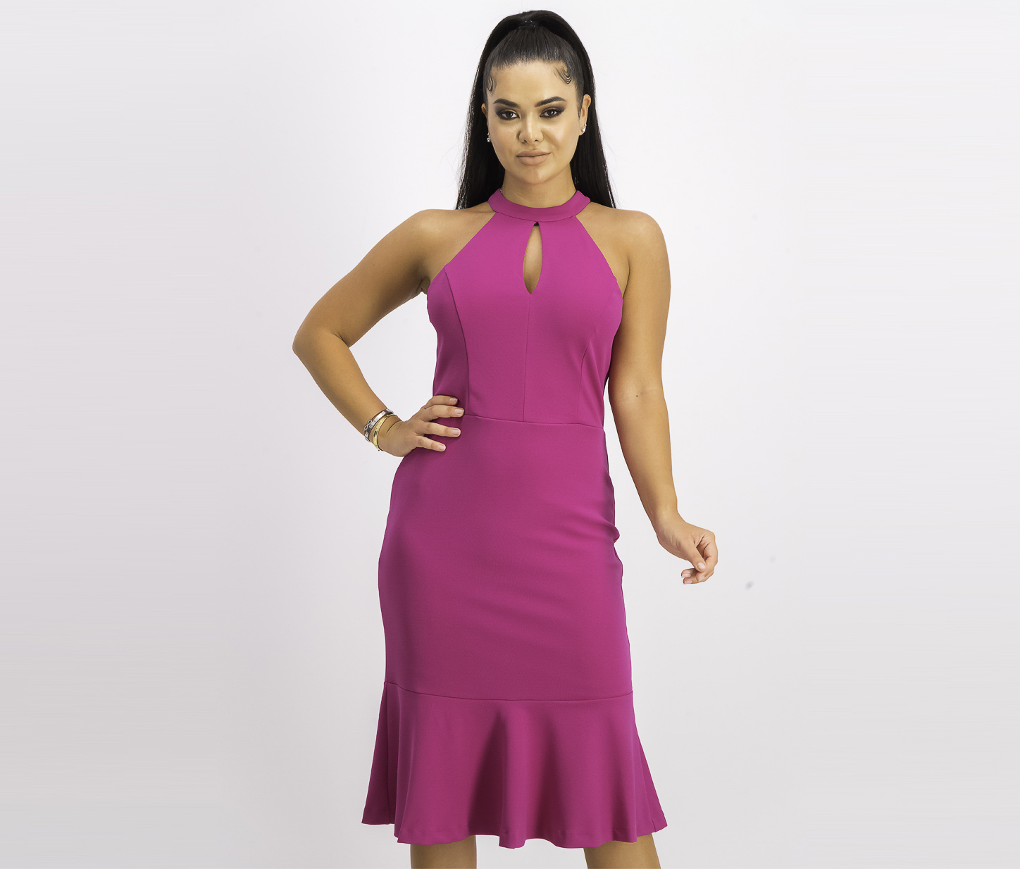 Women's Halter Keyhole Flutter Dress, Magenta