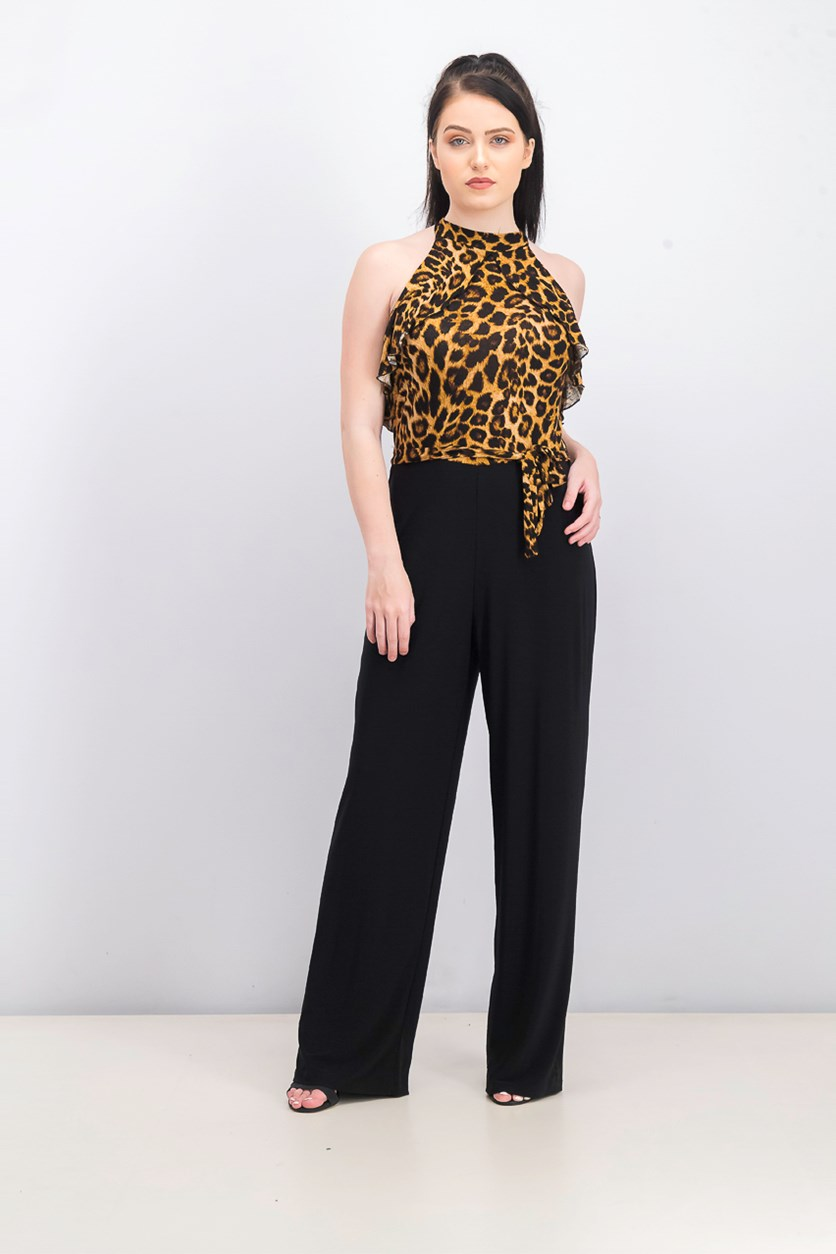 Women's Halter Leopard Jumpsuit, Black/Brown
