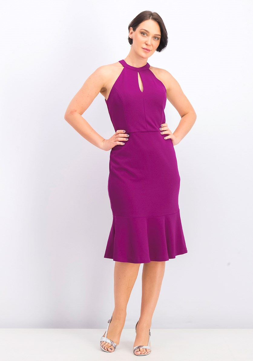 Women's Jersey Halter Dress Flare Hem, Plum